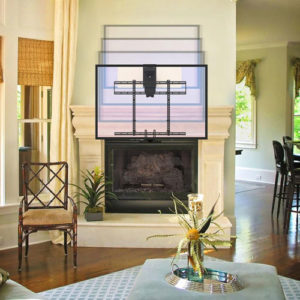 The MM700 moves from above the fireplace to eye-level.