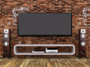 Mounted TV with speakers on the side